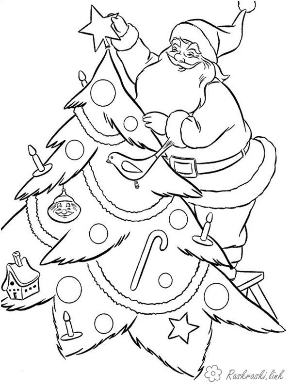 Раскраски зима дед мороз украшает елку