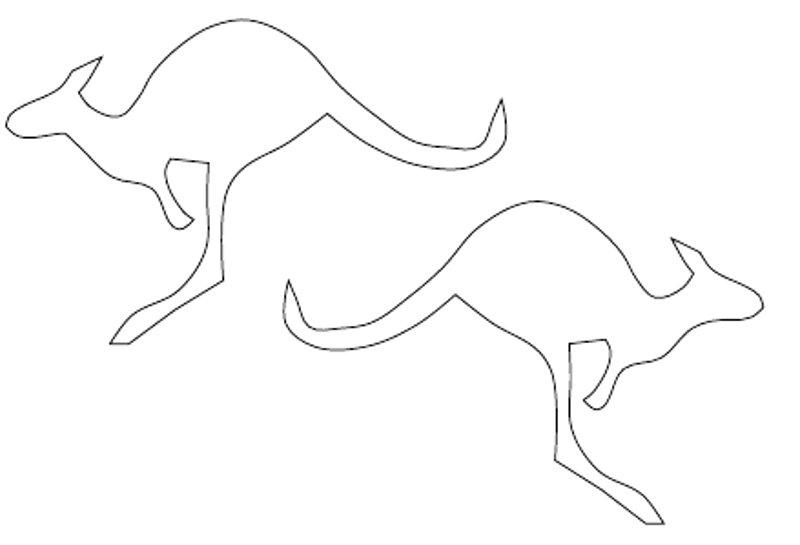 Coloring Animal Pattern Kangaroo contour animals for cutting paper