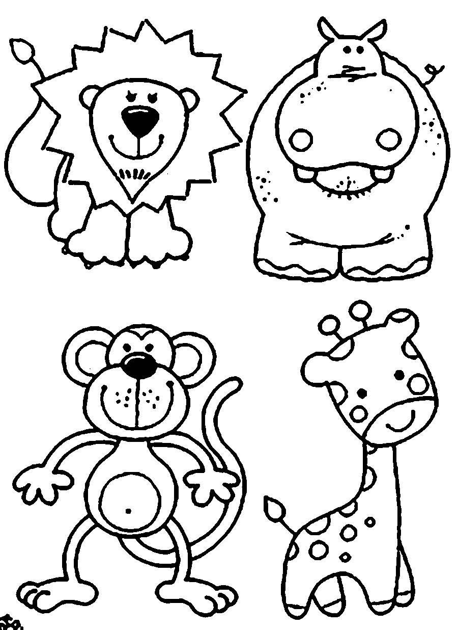 Coloring Animal Pattern Lion contour, hippopotamus, giraffe, monkey pattern to cut paper