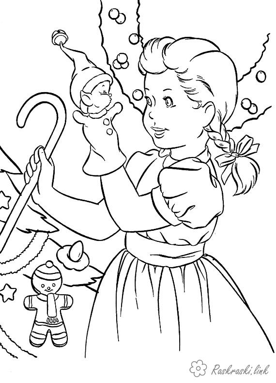 Розмальовки дівчинка розмальовки дітям, чорно-білі картинки, новий рік, свято, зима, дівчинка, ялинкові іграшки