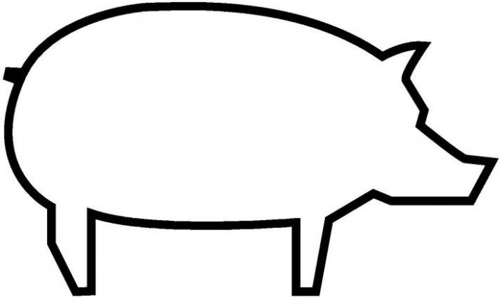 Coloring Animal Pattern pig outline, animal stencil for cutting paper