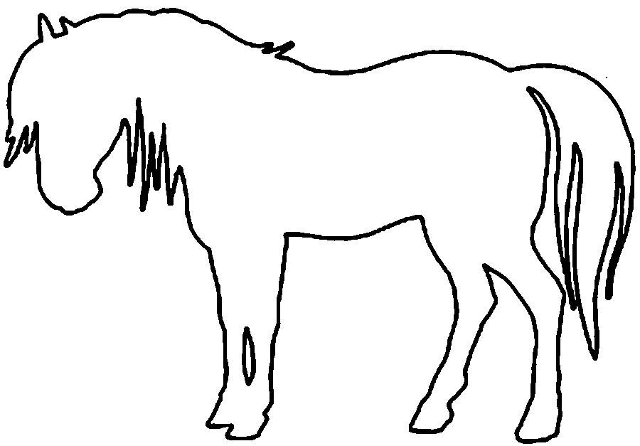 Coloring Animal Pattern Horse contour animals for cutting the stencil paper