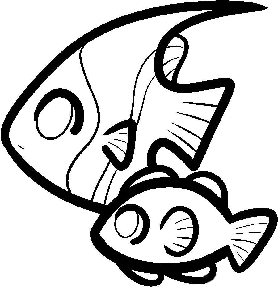 Coloring fish two fish outline for cutting paper