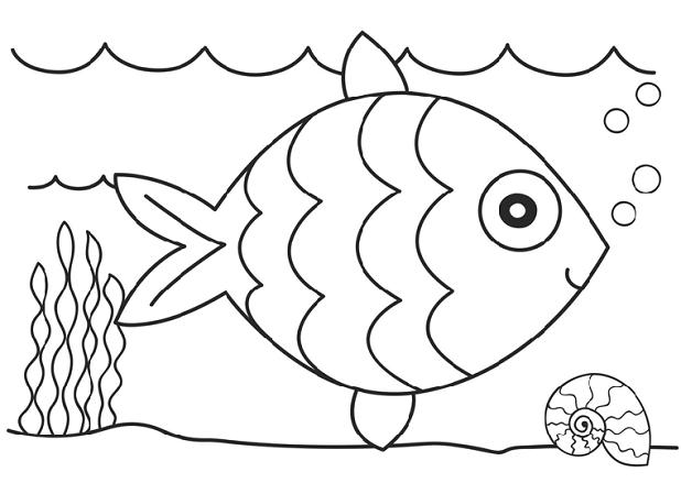 Coloring fish beautiful fish outline for cutting paper