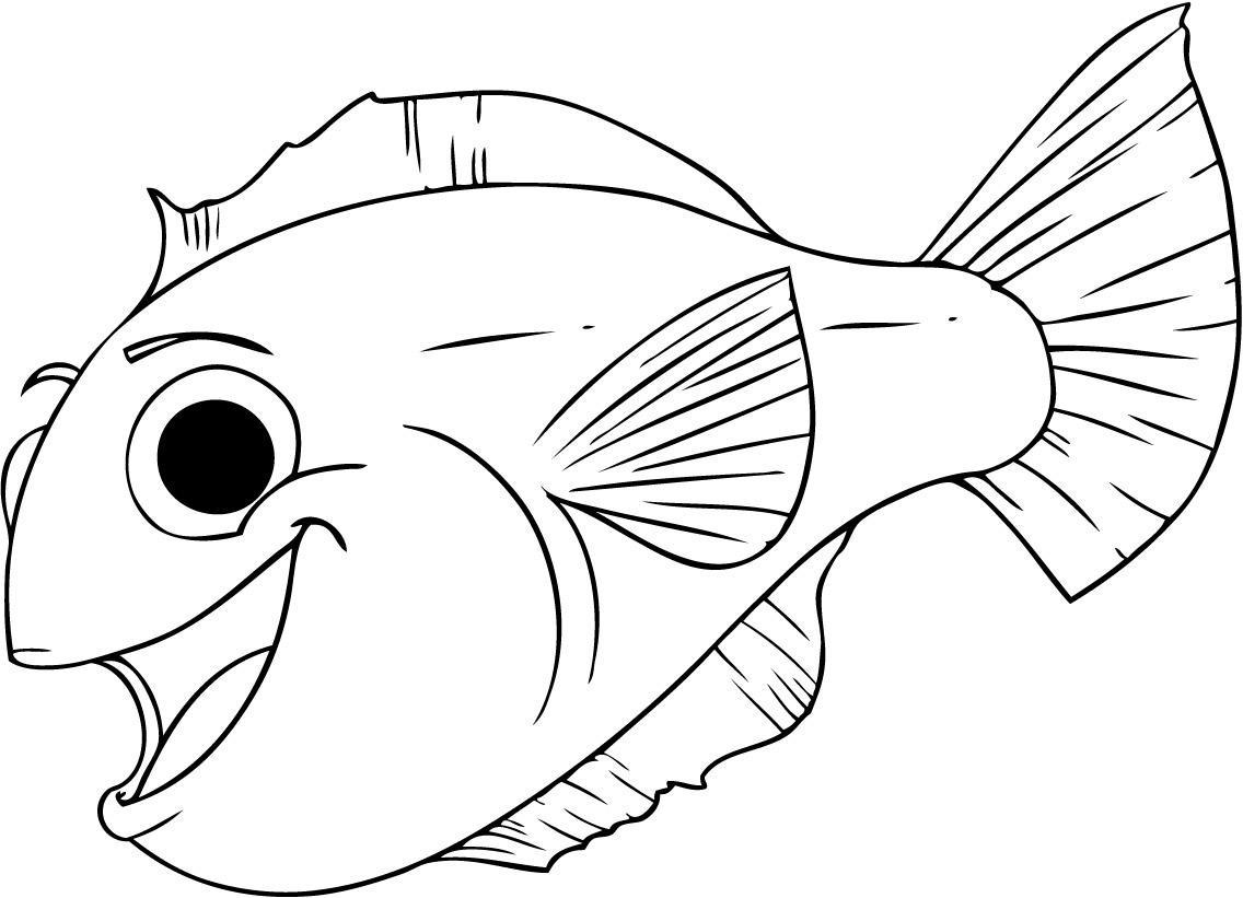 Coloring fish funny fish outline for cutting paper