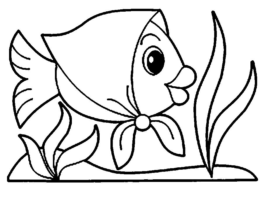 Coloring fish Goldfish in a headscarf circuit for cutting paper