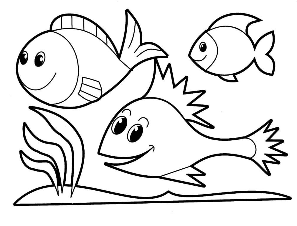 Coloring fish fish, three fish outline for cutting paper