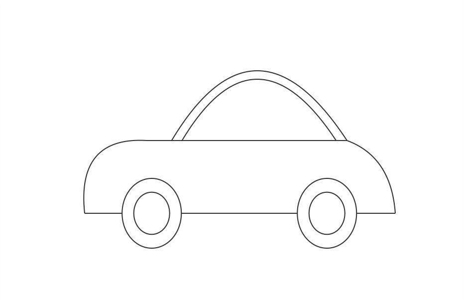 Розмальовки шаблон машини маленька машина контур, трафарет для вирізання з паперу