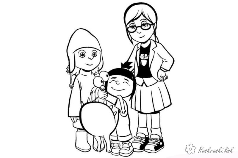 Coloring Illumination Entertainment Despicable Me, coloring pages, Agnes, Edith, Margot,
