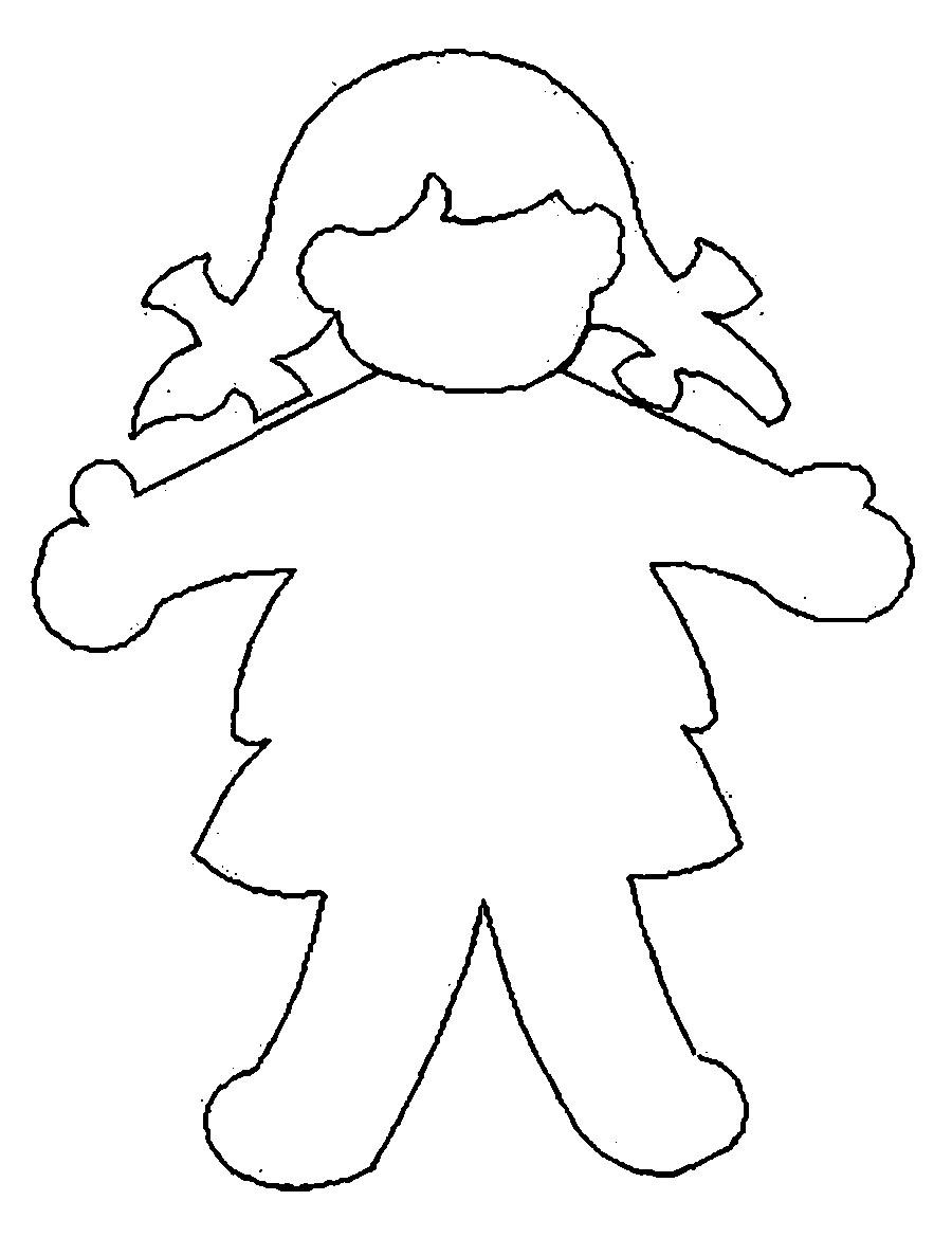 Coloring Pattern person Template human girl for cutting paper