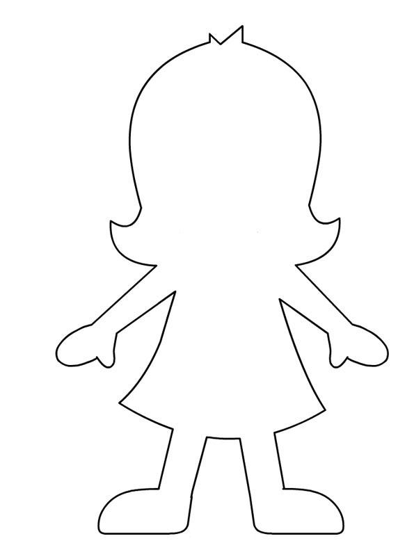 Coloring Pattern person girl pattern to cut paper