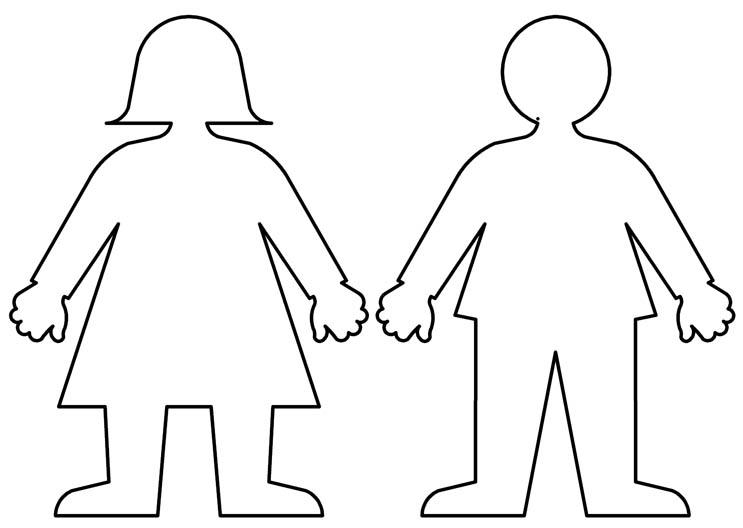 Coloring Pattern person boy and girl Template for cutting paper