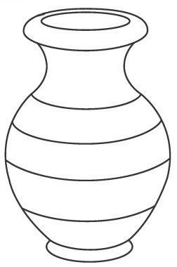 Coloring Pattern Vase Vase with stripes outline for cutting paper