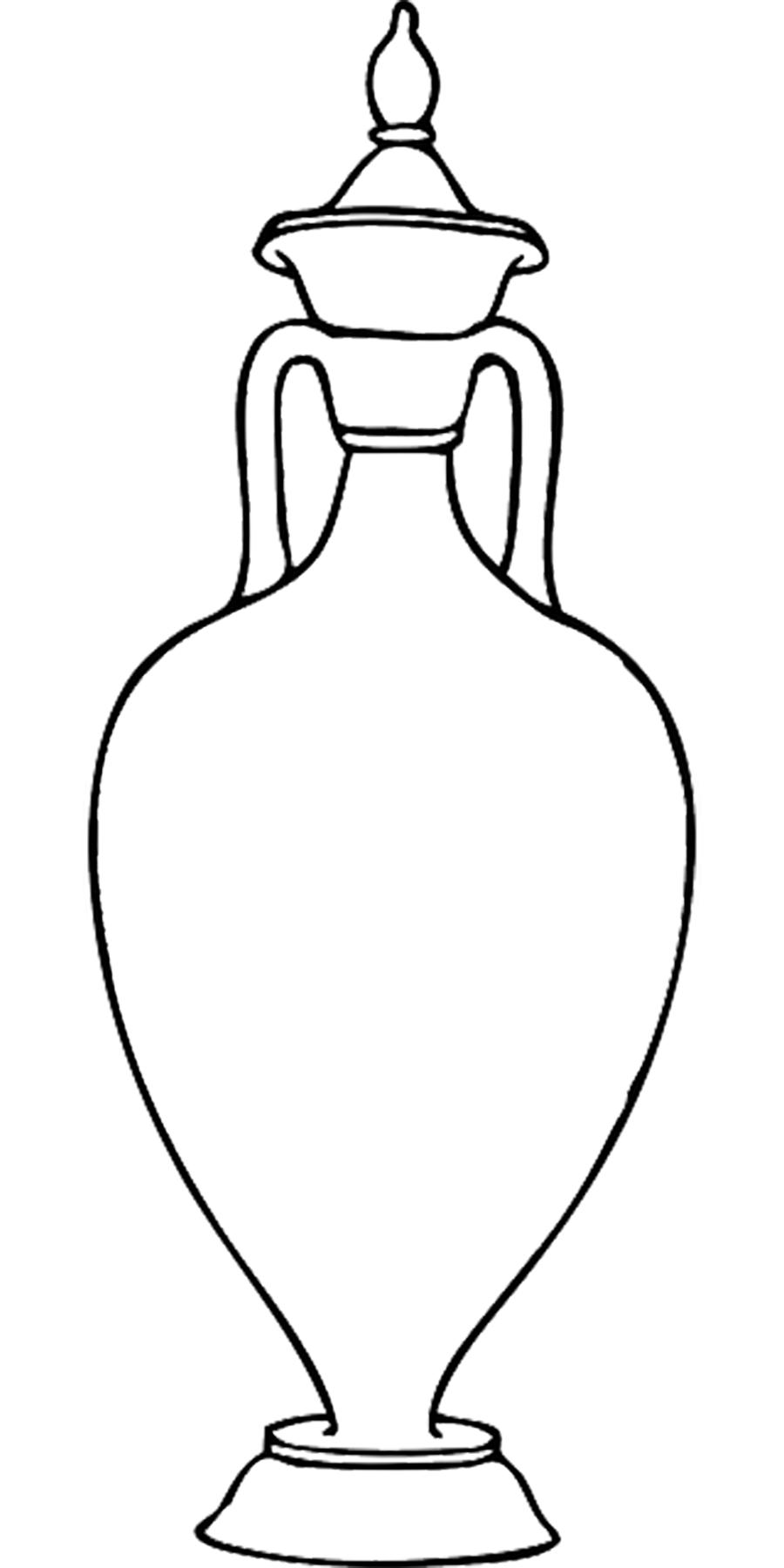 Coloring Pattern Vase vase with lid contour for cutting paper