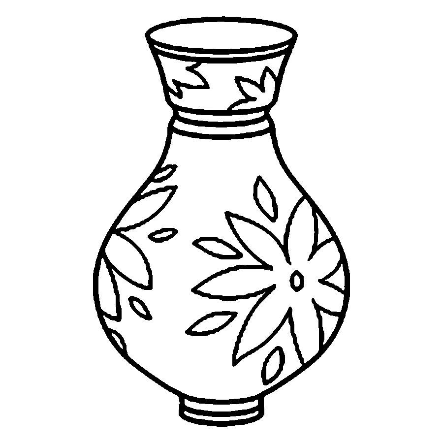 Coloring Pattern Vase vase with a picture outline for cutting paper