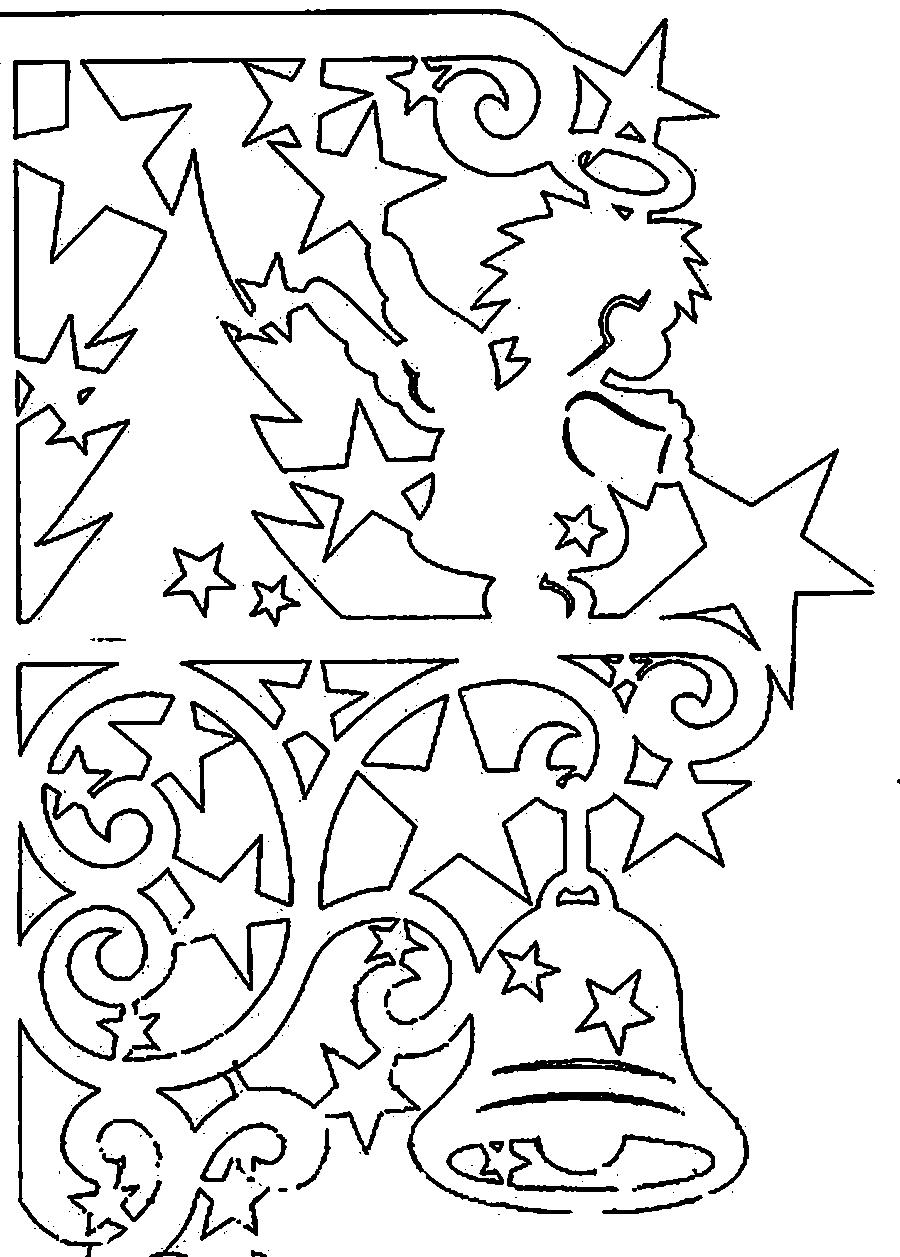 Coloring stencil patterns template for the new year, Christmas, Christmas tree, angel, bell