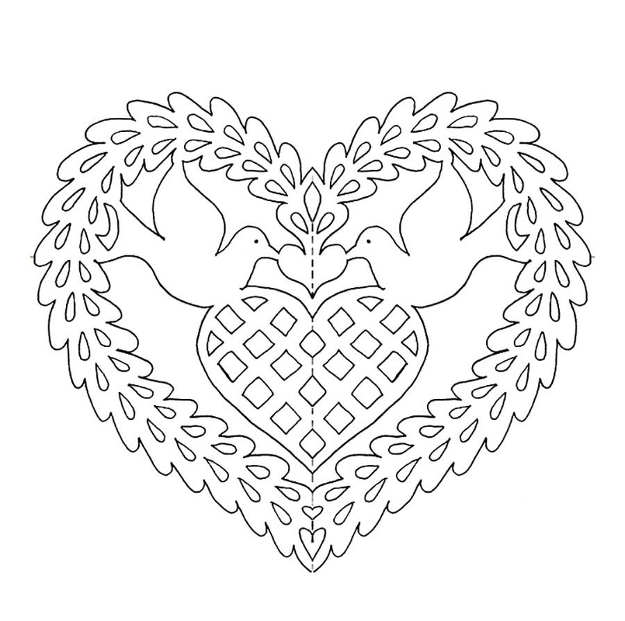 Coloring stencil patterns stencil pattern pigeons in a heart, the day of lovers