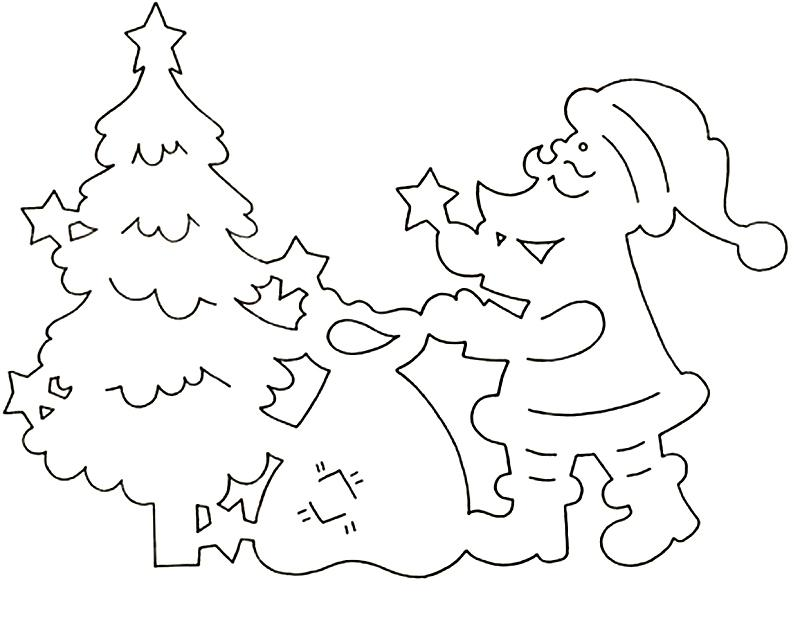 Coloring stencil patterns stencil pattern Santa Claus, Christmas tree, a bag of toys