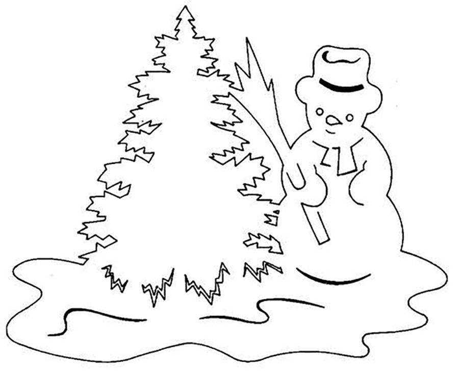 Coloring stencil patterns template for the new year for garlands, Christmas tree, snowman