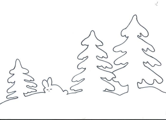 Coloring stencil patterns stencil at Christmas and New Year, Christmas trees and bunny