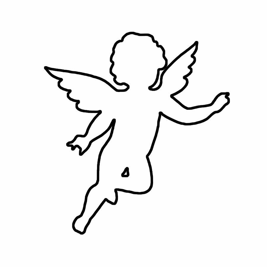 Розмальовки Ангел маленький ангел контур, контур ангела для вирізання з паперу