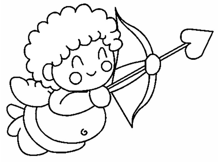 Розмальовки шаблони ангелок зі стрілкою контур для вирізання з паперу