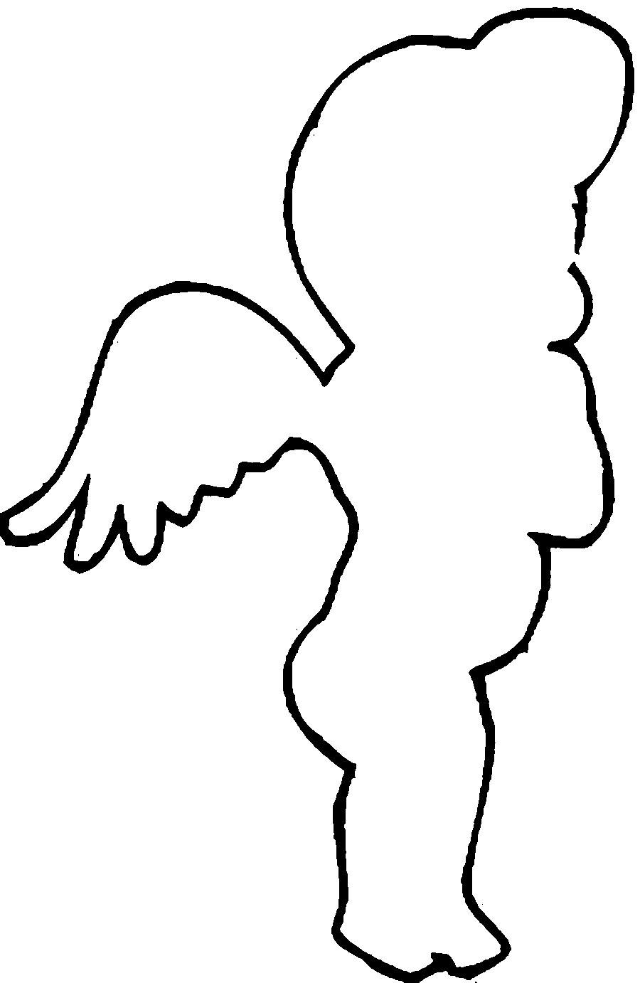 Coloring circuit little angel contour for cutting paper