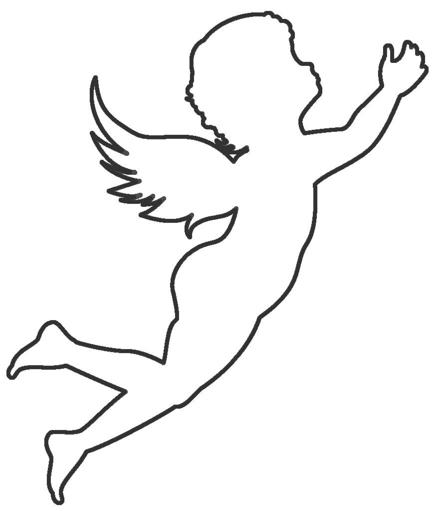 Coloring circuit soaring angel contour for cutting paper