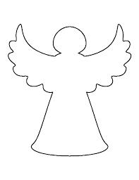 Розмальовки шаблони простий ангел контур для вирізання з паперу для дітей