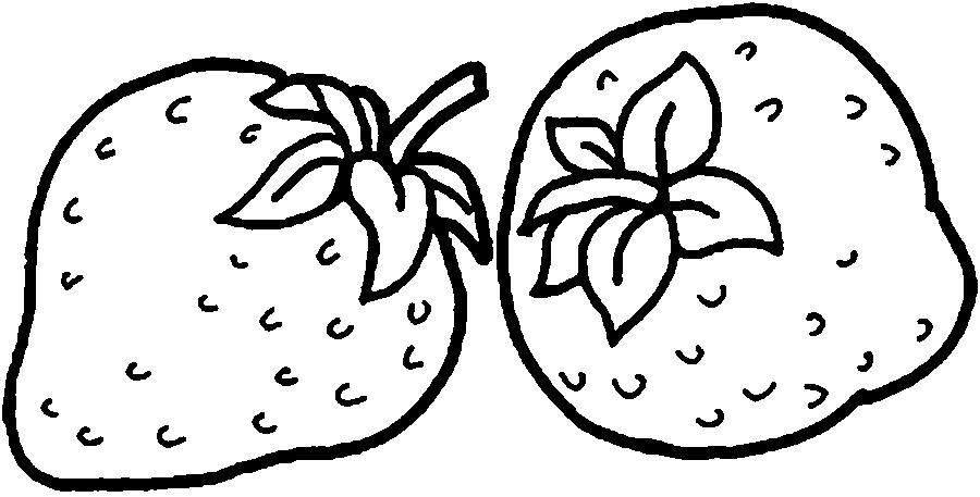Раскраски ягоды земляника контур, ягоды