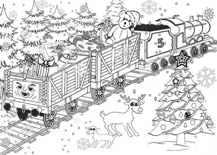 Coloring gifts Christmas gifts, train, tree, deer