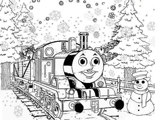 Coloring gifts snowman, train, gifts, Christmas trees, New Year