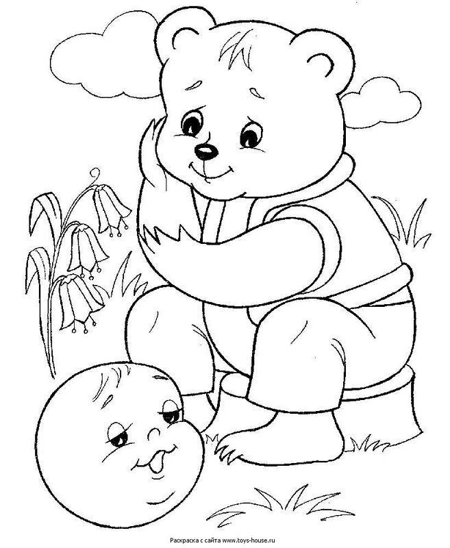 Coloring coloring pages to the tale bun From you, a bear, a fortiori leave, Rolling gingerbread man, met him Bear