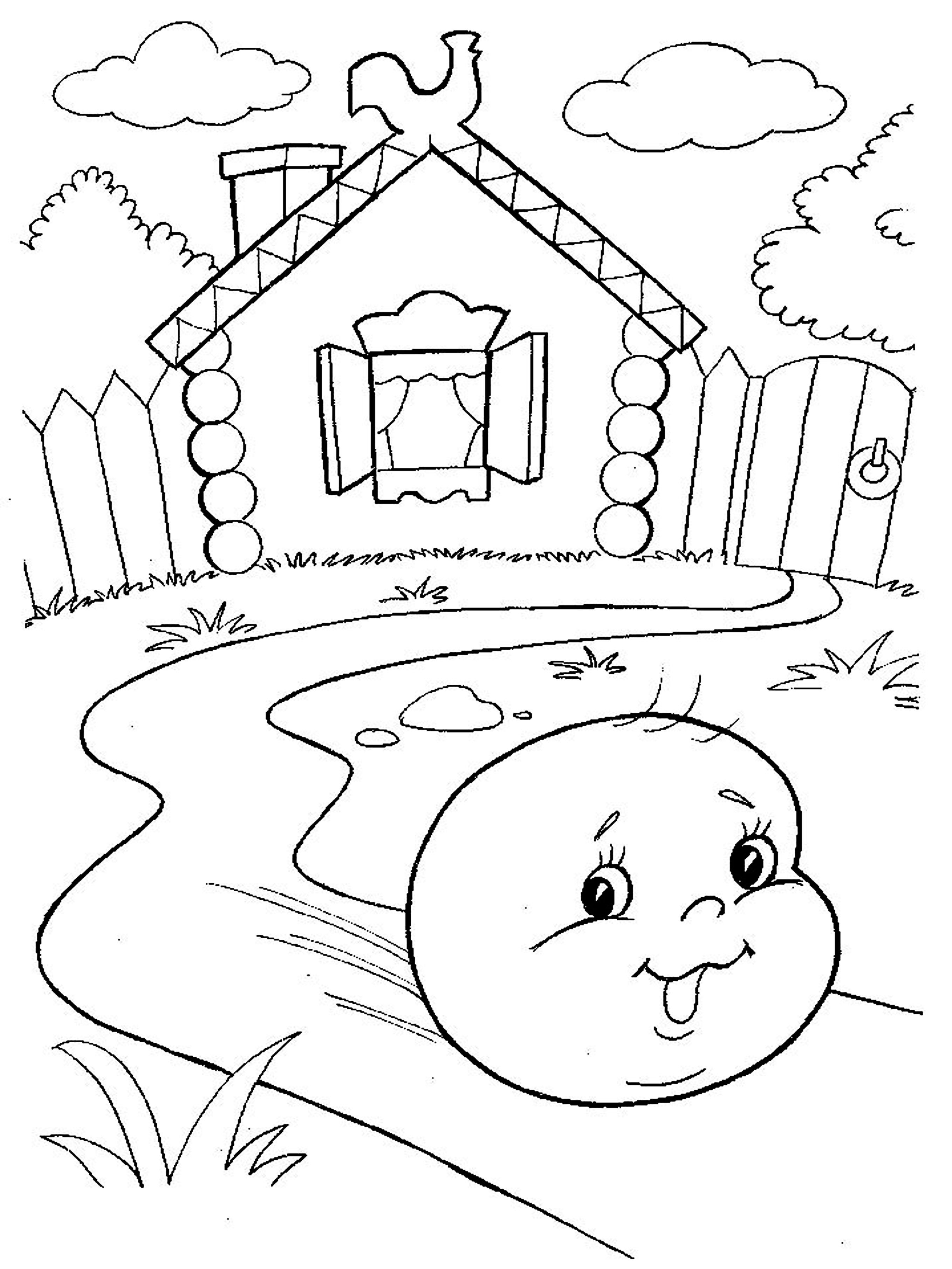 Coloring coloring pages to the tale bun He said, and jumped down from the window, window, window, window and bun
