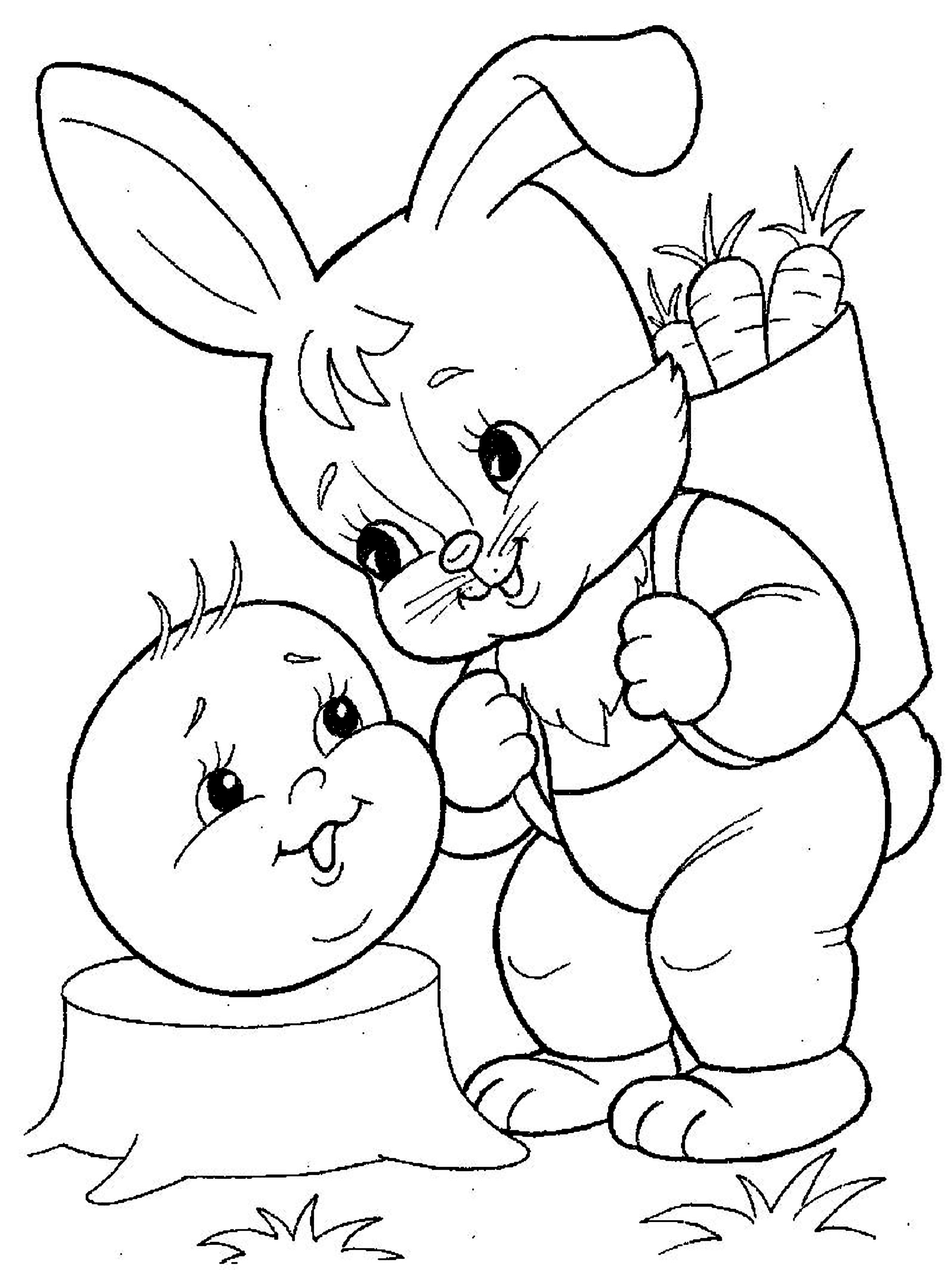 Coloring coloring pages to the tale bun Zayats, and Zaets bun, bun with a hare,