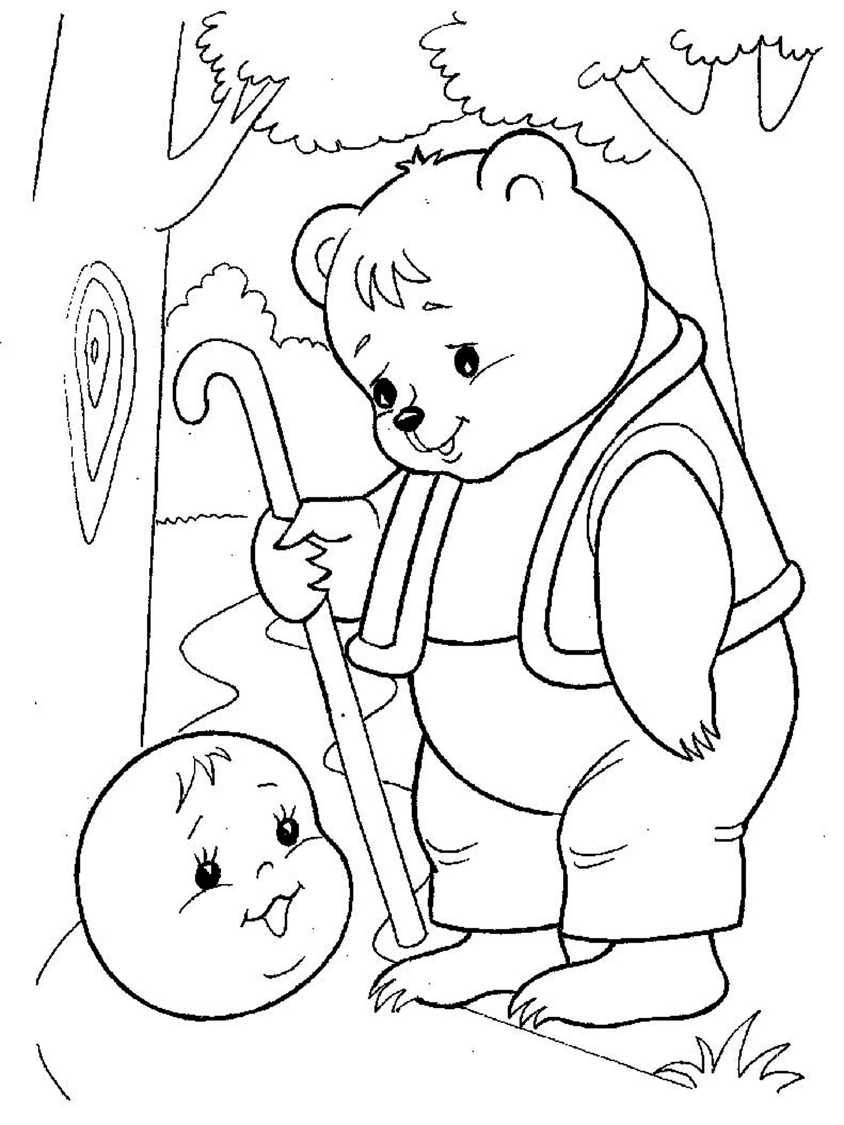 Coloring coloring pages to the tale bun Gingerbread man, bear, bear, bear and bun