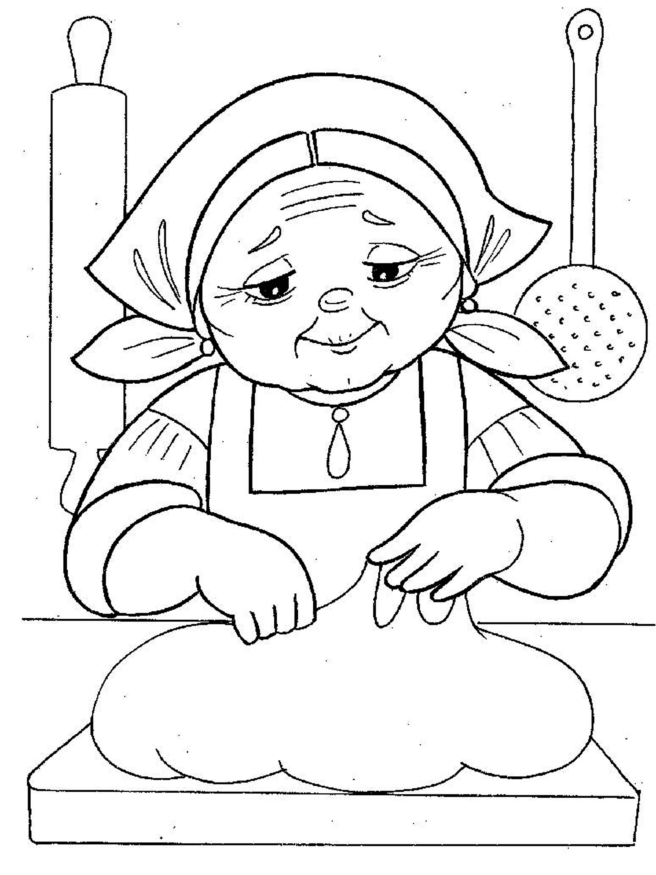 Coloring coloring pages to the tale bun Lead bun, bun, Bun grandmother