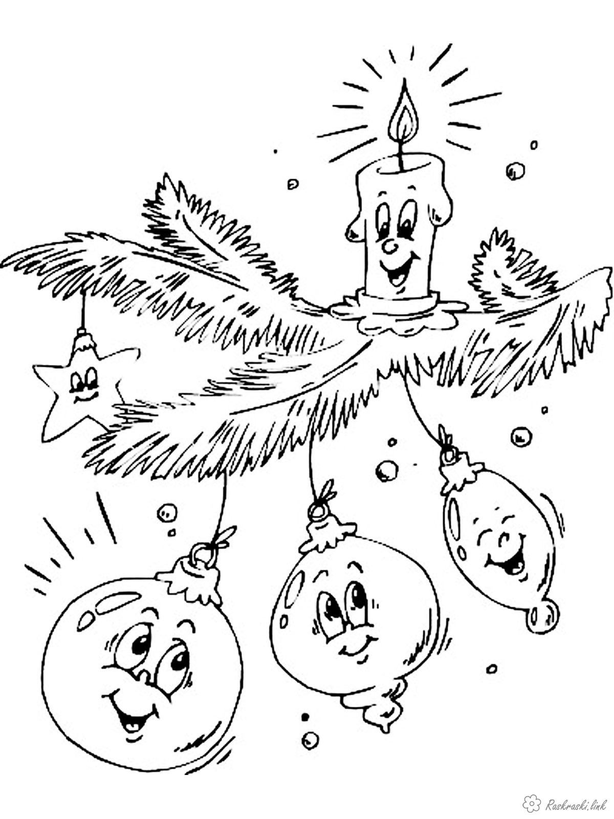 Розмальовки гілка розмальовки дітям, чорно-білі картинки, новий рік, свято, зима, ялинова гілка, ялинова лапа, іграшки, свічка