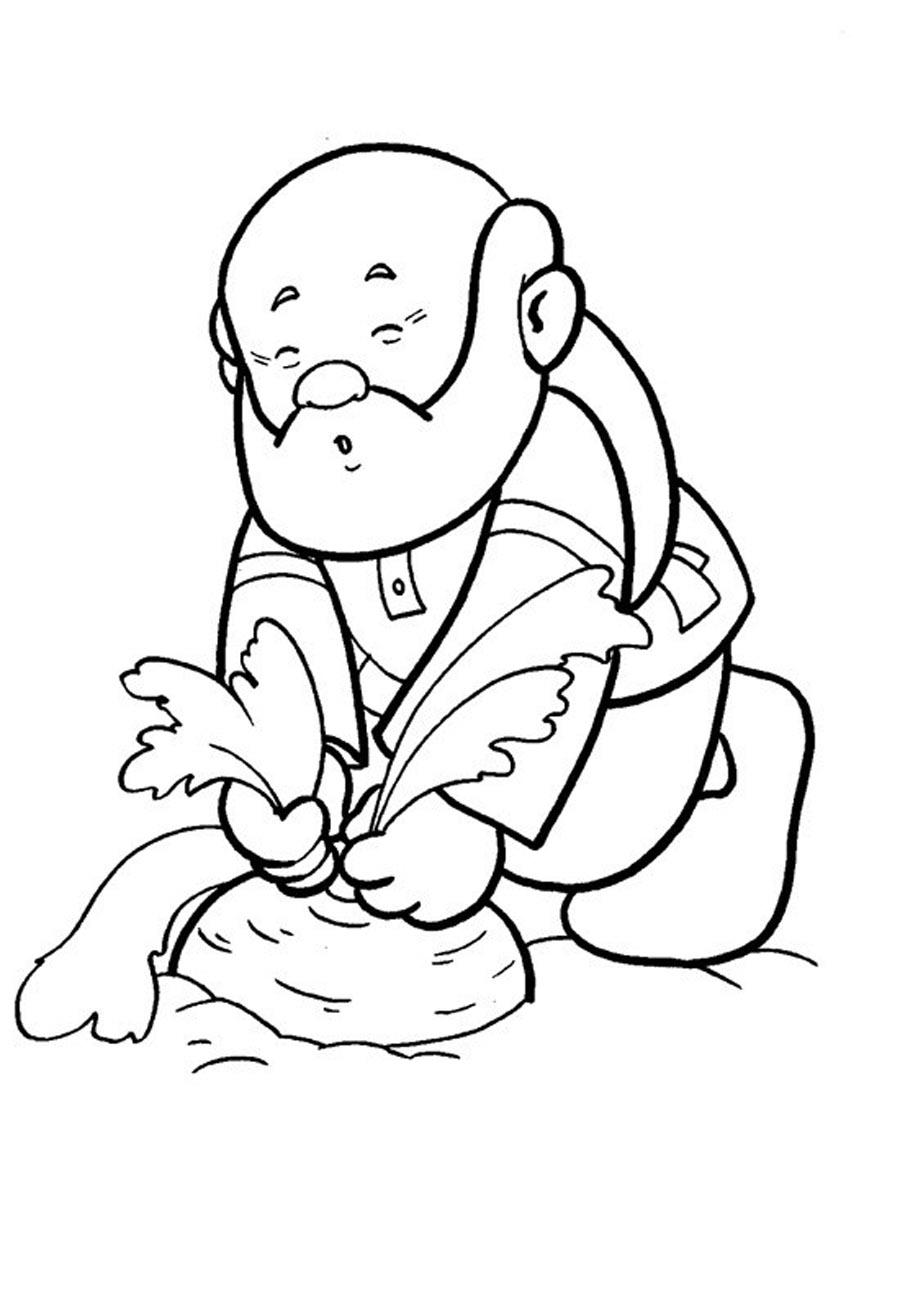 Coloring coloring pages on the story turnip grandfather pulled the turnip