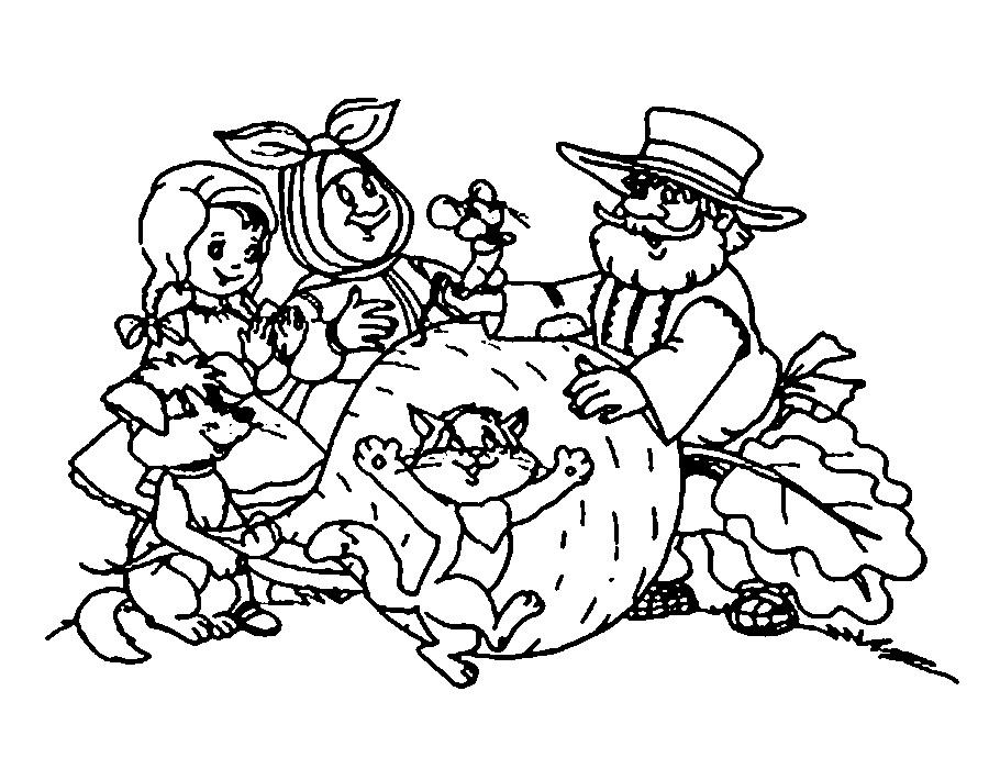 Coloring coloring pages on the story turnip pulled the turnip