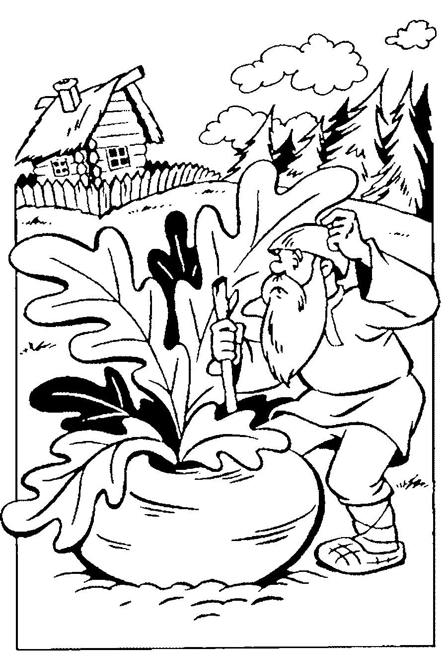 Coloring coloring pages on the story turnip turnip grew large at large