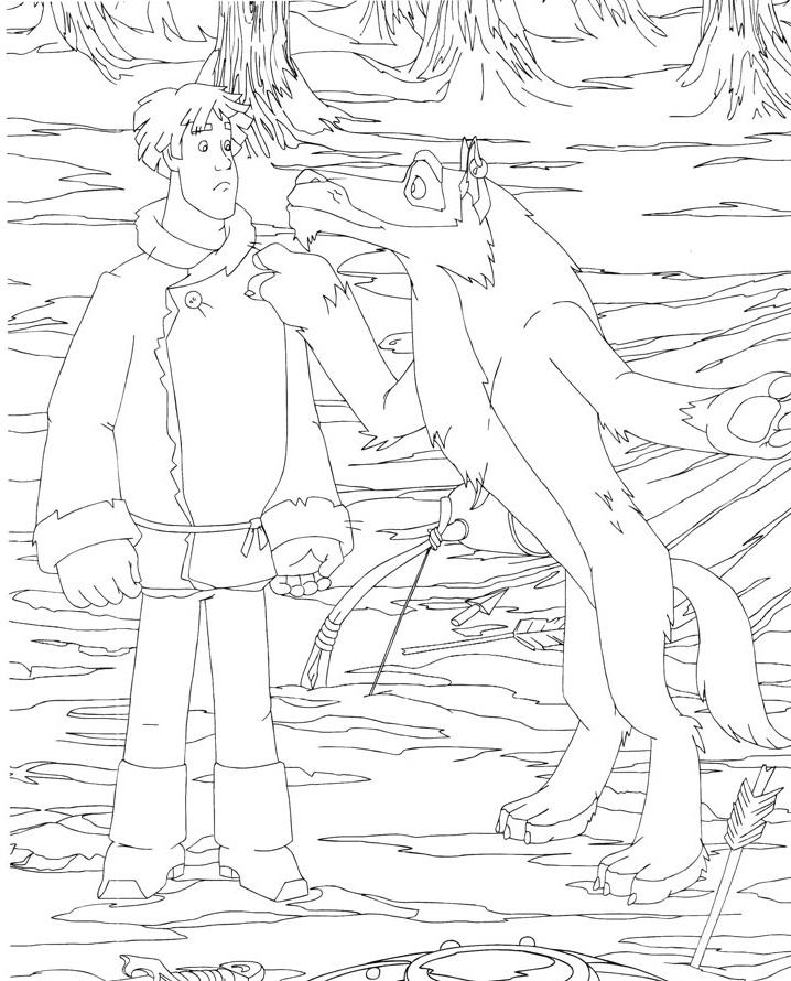 Coloring coloring pages the tale of Ivan Tsarevich and the Grey Wolf coloring pages Ivan Tsarevich and the Grey Wolf