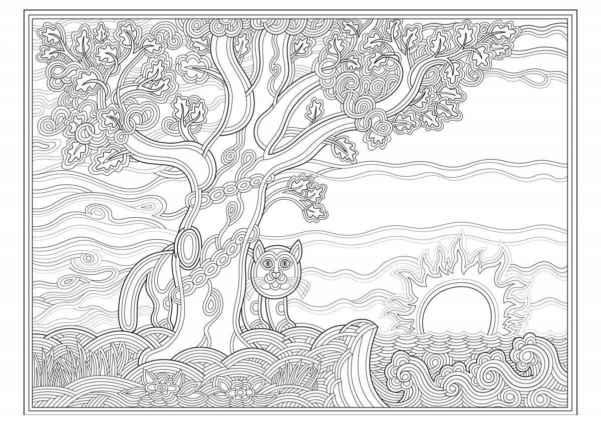 Coloring coloring pages the tale of Ivan Tsarevich and the Grey Wolf Oak green cat