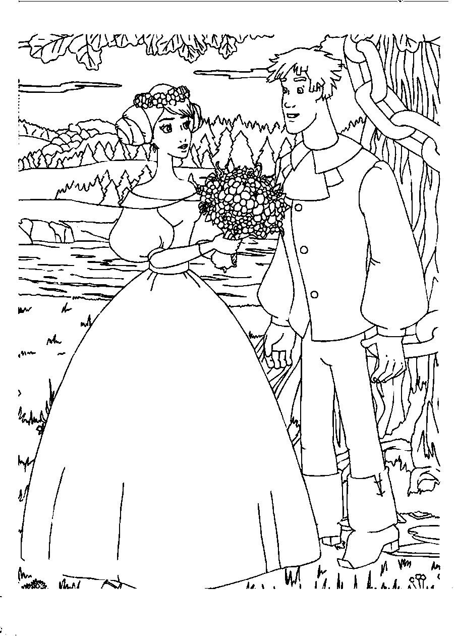 Coloring coloring pages the tale of Ivan Tsarevich and the Grey Wolf Ivan and Princess