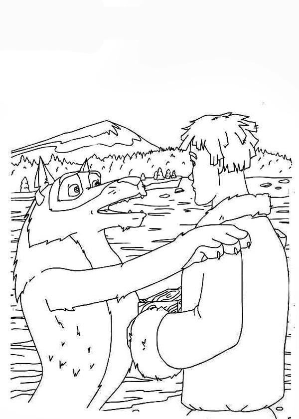 Coloring coloring pages the tale of Ivan Tsarevich and the Grey Wolf Wolf and Ivan