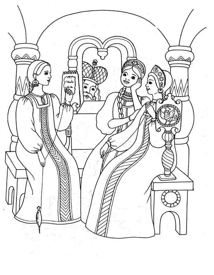 Coloring coloring pages by skazke Tsar Saltan Three girls, Tale of Tsar Saltan, coloring pages