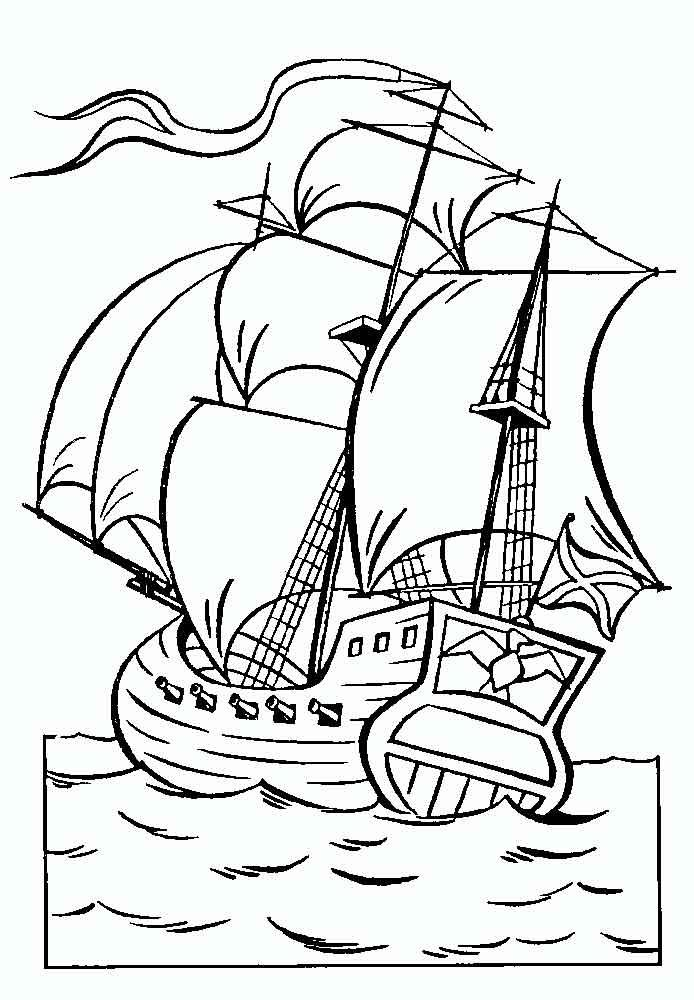 Coloring coloring pages by skazke Tsar Saltan ship, sea, fairy tale, painting, free download