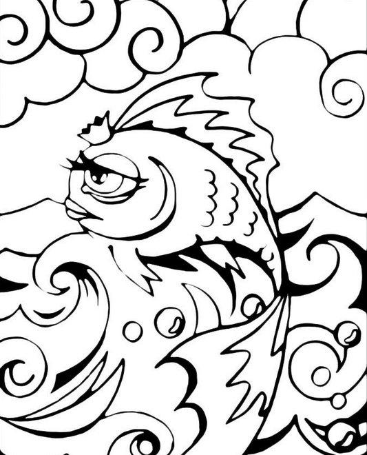 Coloring coloring pages for The Tale of the Fisherman and the Fish goldfish, coloring pages on the story of the Fisherman and the Fish