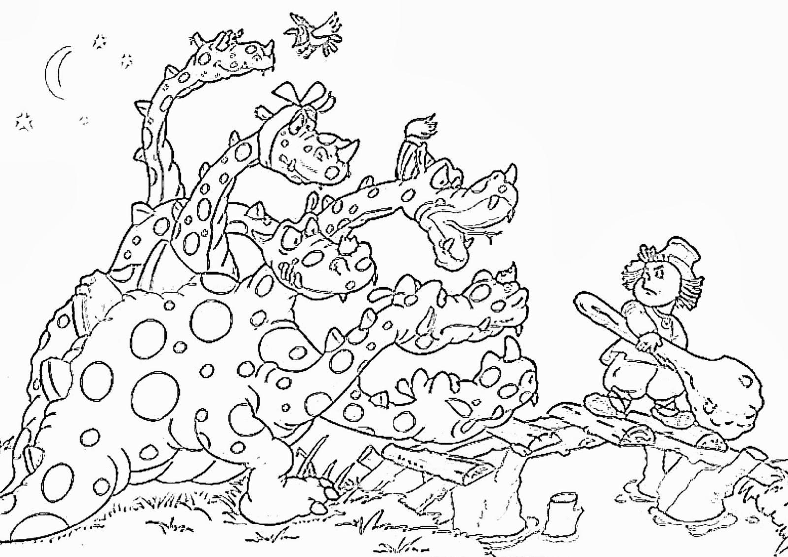 Розмальовки розмальовки Іван-селянський син і чудо-юдо дракон та іван селянський син, розфарбування
