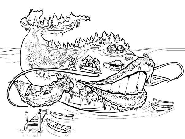 Розмальовки розмальовки Іван-селянський син і чудо-юдо чудо юдо, село на киті, розфарбування, завантажити безкоштовно
